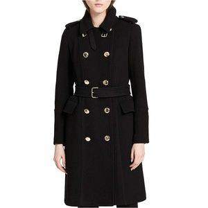 NWT Calvin Klein Black Wool Trench Coat Gold Trim